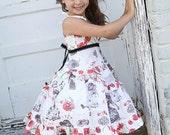 Girls Formal dress white red black Holiday Birthday Alice ruffled twirl dress size 2T  to 12 yrs - My Wonderland