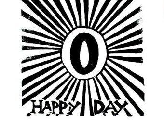 "o happy day linoleum block print - 9"" x 12"" wall art"