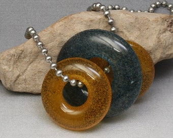Pate de Verre Fused Glass Beads Necklace - Water Fire