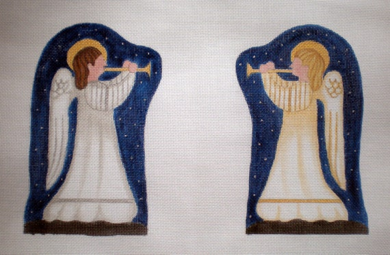 Handpainted Gold and Silver Angels Nativity  Needlepoint canvas