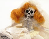 Skeleton Bride Art Doll,  Happily Ever After, Hand Embroidered