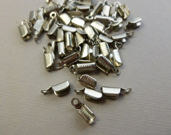 30 pcs Fold over CRIMP ENDS silver color 10mm (narrow for 1 or 2 mm cord)