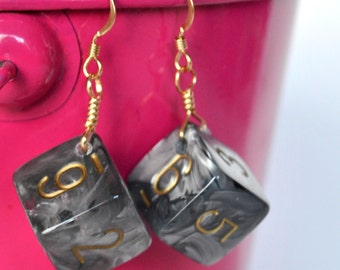 Silver Dice Earrings - Silver Swirl and Gold d6 Six Sided Dice - Geeky Gamer Jewelry