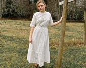 Reserved Listing - Antique White Eyelet Dress 24 Inch Waist