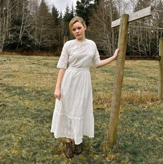 Reserved Listing - Antique White Eyelet Dress 24 Inch Waist