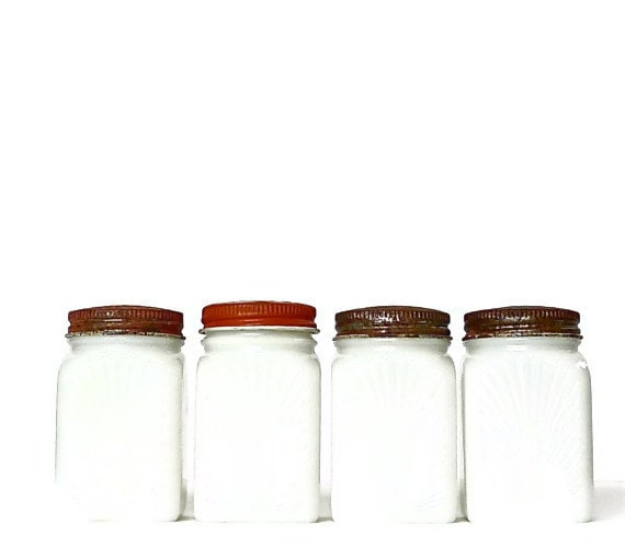 Vintage Milk Glass Sun Ray Spice Jars Set of Four