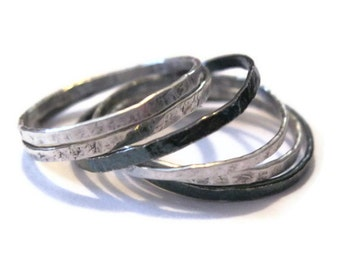 sterling silver skinny stacking rings - Set of five (5)
