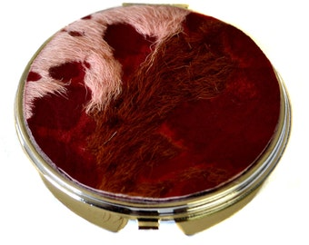 Pink and Purple Goatskin Burnout Compact Mirror -  LIMITED EDITION