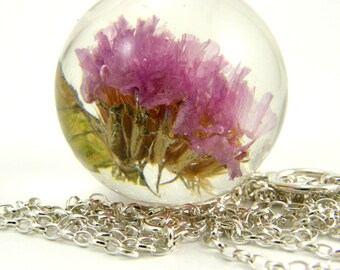 Pink Flower Necklace, Large Resin Round with Sterling Silver Chain