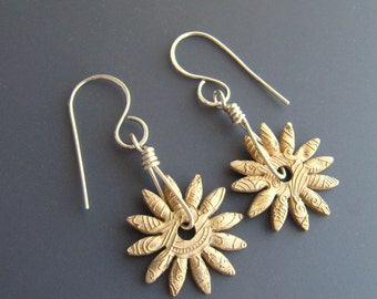 Bronze and Sterling Silver Textural Tribal Flower Pierced Spinner Earrings