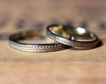 Gold braided ring, wedding band set gold, wheat ring, recycled gold wedding band, 14k gold wedding band, wedding ring set his and her custom