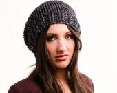 Charcoal Grey Slouchy Beanie Knit Hat Womens Hat Mens Hat - Toque Beanie Hat Constellation Grey Hat Womens Accessories Winter Hat