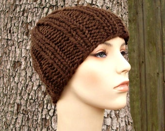 Brown Mens Hat Brown Womens Hat Ribbed Beanie Chocolate Brown Knit Hat Brown Hat Brown Beanie Womens Accessories Winter Hat - READY TO SHIP