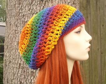 Crochet Hat Womens Hat Slouchy Beanie - Weekender Slouchy Hat in Psychedelic Rainbow Hat Rainbow Beanie - Womens Accessories Winter Hat