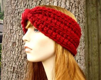 Womens Crochet Headband Earwarmer - Crochet Turban Headband in Cranberry Red Headband - Womens Accessories