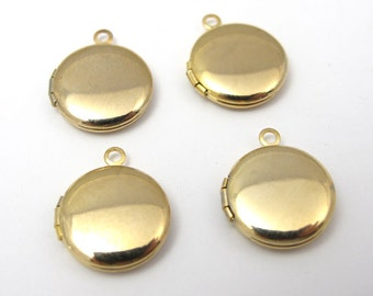 Vintage Gold Plated Round Lockets (6X) (L510)