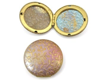 Vintage Raw Brass Lockets with Floral Texture (4X) (L505)