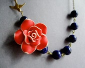 Red Flower Necklace,Red Floral Necklace,Navy Blue Necklace,Floral Necklace,Navy Necklace,Nautical Necklace,Sailor Necklace,Bridesmaid Set