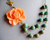 Statement Necklace,Coral Flower Necklace,Coral Necklace,Flower Necklace,Turquoise Necklace,Floral Necklace,Multi Strand,Bridesmaid Necklace