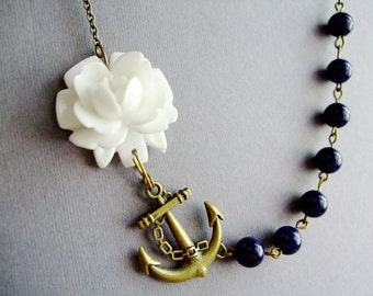 White Flower Necklace,Flower Necklace,White Floral Necklace,Navy Blue Necklace,Navy Blue Necklace,Nautical Necklace,Anchor Necklace,Gift