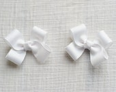 White Hair Bows,Pigtail Hair Bows,3 Inches Wide,Alligator Clips,Birthday Party Favors