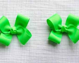 Hair Bows,Neon Green Hair Bows,Baby Hair Bows,Toddler Hair Bows,Pigtail Hair Bows,3 Inch Hair Bows,Alligator Clip Bows,Birthday Party Favors