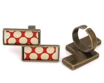 10pcs 24x40.5mm lightning antique bronze Pewter blank bezel rectangle Pendant Tray ring