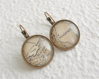 Game of Thrones Map of Westeros Earrings - Choose from Winterfell, King's Landing, The Wall, Casterly Rock, and more