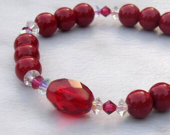 Festive Red Stretch Bracelet, Swarovski Crystals & Glass Pearls, Stackable Bracelet for the Petite Wrist