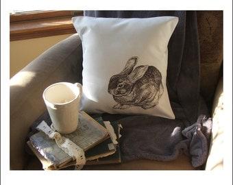 bunny throw pillow cover, custom throw pillow, decorative throw pillow