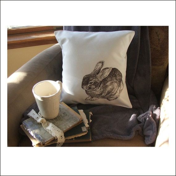 Ready Made Decorative Pillow Covers : bunny throw pillow cover custom throw pillow decorative