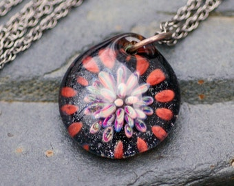 Boro Glass Pendant Flower Borosilicate Lampwork, Handmade Glass Jewelry - Close Up