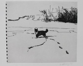 Border Collie Sketchbook Snow Dog - Original etching by Nicole Strasburg