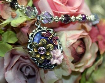 Dragonfly Garden Layered Purple n Silver Double Necklace Convertible Vintage Swarovski Rhinestones