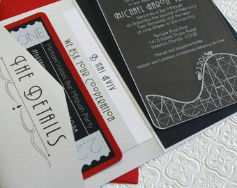 Theme Park Bar Mitzvah Invitation - Acrylic Invite - Design Fee