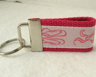 HALF OFF - Ballet Mini Key Fob - PINK Dance Key Chain - Ballet Zipper Pull - Backpack Identifier - Small Dance Key Chain