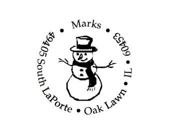 Christmas snowman return address custom rubber stamp