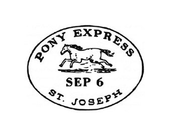 pony express symbol rubber stamp Cowboy Horse Western Old West Country Rustic