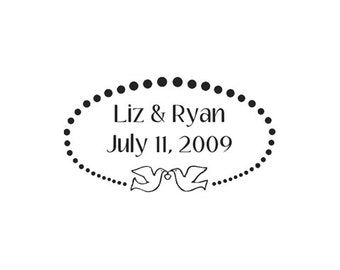 custom rubber stamp wedding doves save the date