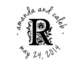 custom wedding stamp Beautiful Designer Initial Monogram custom Rubber Stamp perfect for Wedding save the date