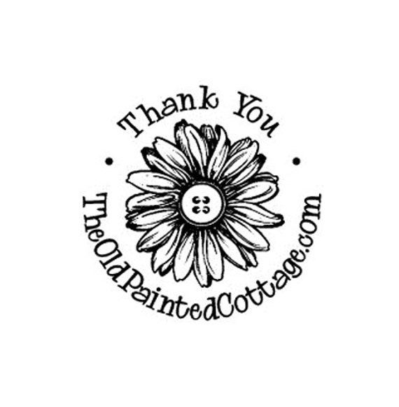 Daisy with button custom Rubber Stamp Thank You