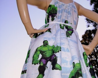 Hulk Dress OAK Upcycled Geek Sundress Cruise Resort Beach Wear Marvel Comics Hulk Theme Party Mom Party Sundress Adult S M L XL