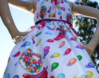 Gumball Geek Sundress Hippie Rainblo Bubble Gum Party Dress 1980s Fabric Mom Party Sundress S M L XL Plus Size Adult Sundress