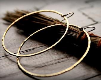 Brass Hoops - Large Brass Hoops, Bohemian Earrings, Hammered Brass Earrings, Golden Earrings, Golden Hoops, Boho Brass Hoops, Big Hoops