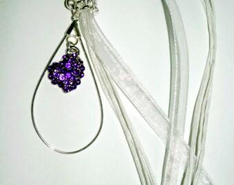 Purple Rhinestone Heart Necklace Organza Necklace  Radiant Orchid Rhinestones