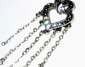 Little Sweet  Heart Necklace  with a Little Bit of Sparkle Tiny Rhinestones Upcycled