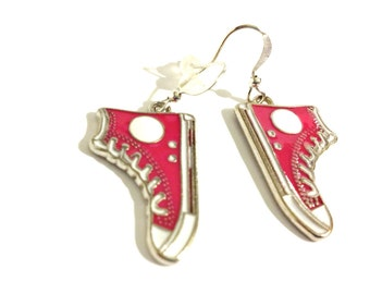 Cherry Blossom Pink Converse  Running Shoe Earrings   Cerise PinkChucks    READY TO SHIP