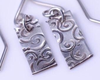 Simple Swirl Earrings - Textured Sterling Silver Tab Earrings