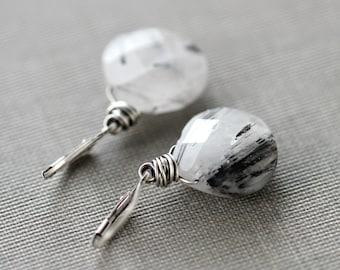 Tourmalinated Quartz Earrings Black and White Sterling Silver Earrings - Pepper