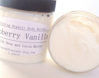 Black Raspberry Vanilla Body Butter, Fruit Scented Lotion, Creamy, Fresh Organic Shea Butter And Raw Organic Cocoa Butter, Non Greasy, 4 Oz